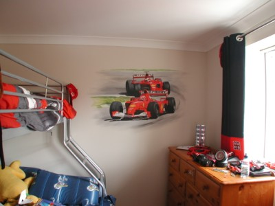 Full view of racing car mural