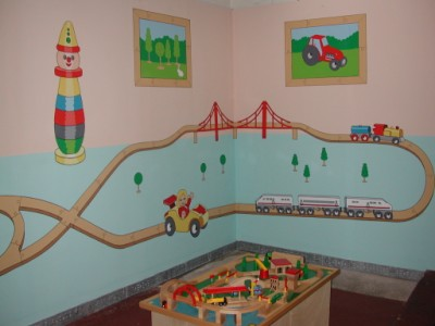 Other view of childrens train set mural