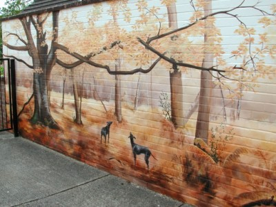 Mural painted on a garage wall
