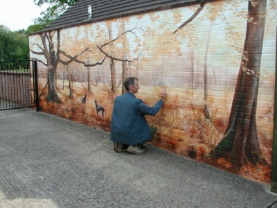 Finishing touches to the mural