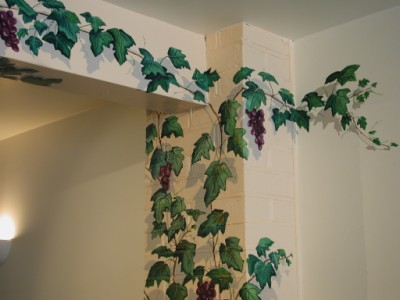 Detail of grape vine trompe l'oeil mural