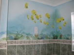 Have fun with a mural in a bathroom